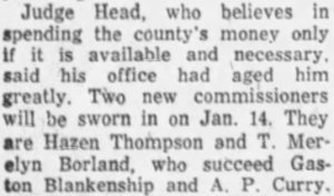 19561210 Mtgmy Adv-New commissioners will be sworn in (Borland won) crop.png