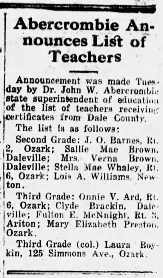 19230829 Southern Star New Teachers Sallie Mae Brown p7col7