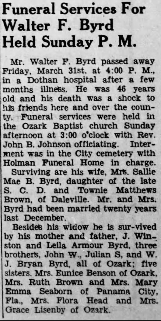 19440406 Southern Star Funeral for Walter Byrd p1col7